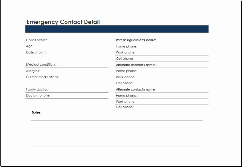 Emergency Contact form Template Inspirational Emergency Phone Number List Template Invitation Template