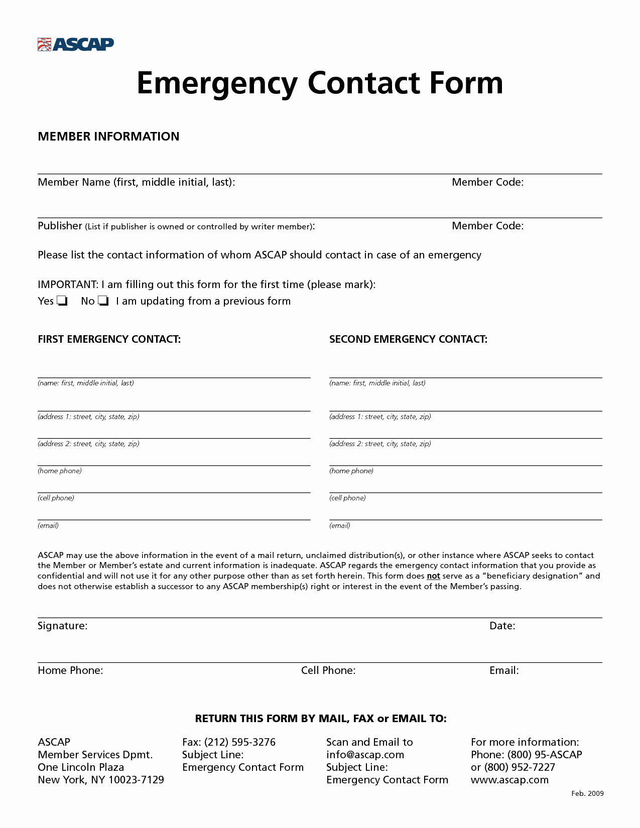 Emergency Contact form Template Lovely 8 Best Of Free Printable Emergency Contact form