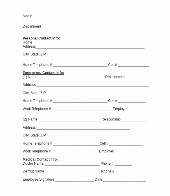 Emergency Contact form Template Lovely Emergency Contact forms 11 Download Free Documents In