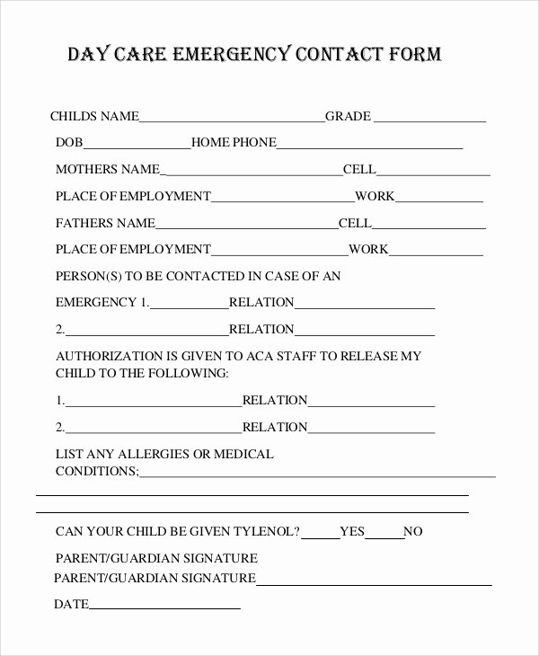 Emergency Contact form Template Luxury 8 Sample Emergency Contact forms – Pdf Doc