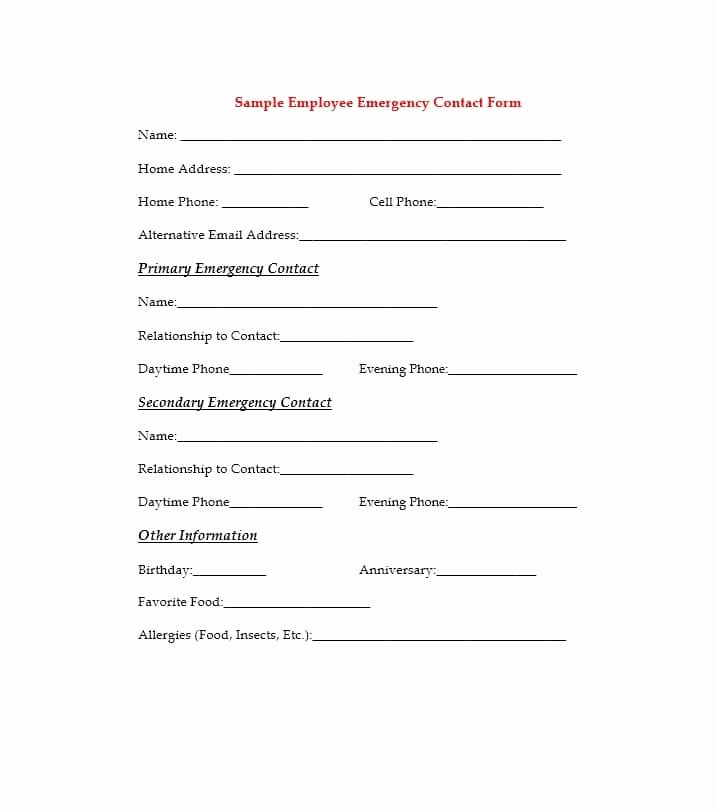 Emergency Contact form Template New 54 Free Emergency Contact forms [employee Student]
