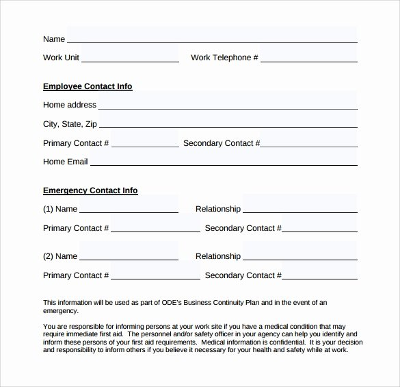 Emergency Contact form Template New Emergency Contact forms 11 Download Free Documents In