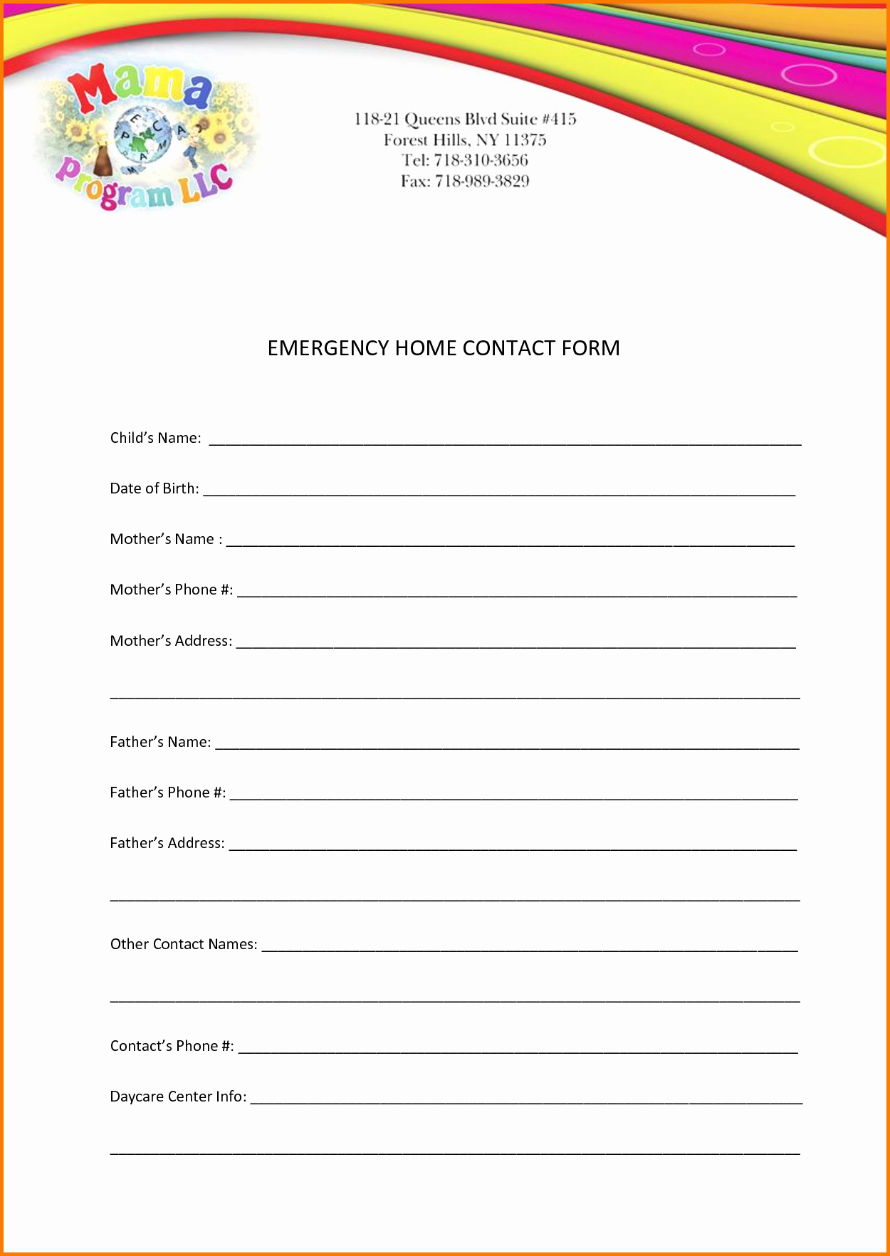 Emergency Contact form Template Unique Printable Calendar April 2017 Free Home Interior Design