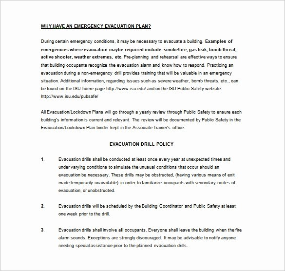 Emergency Evacuation Plan Template Best Of 7 Emergency Plan Templates Pdf Doc