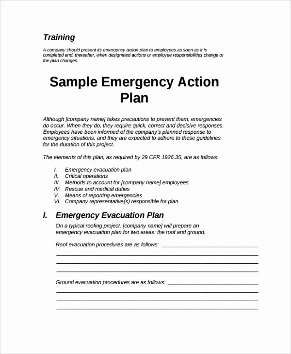 Emergency Evacuation Plan Template Elegant 7 Emergency Action Plan Samples Examples & Templates