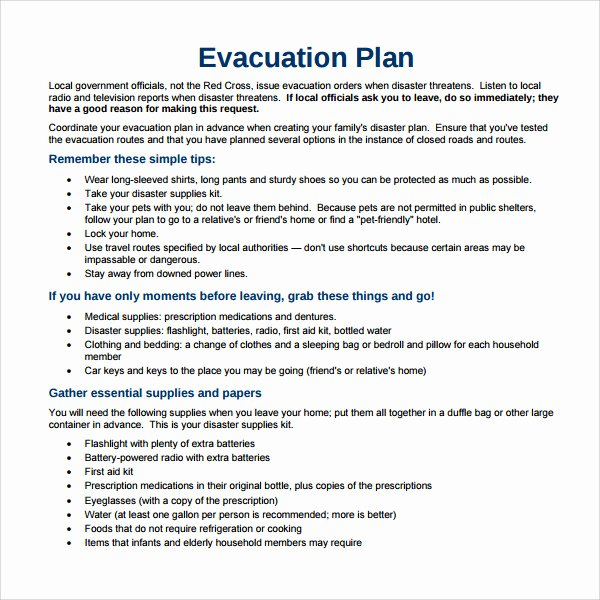 Emergency Evacuation Plan Template Lovely Sample Evacuation Plan Template 9 Free Documents In Pdf
