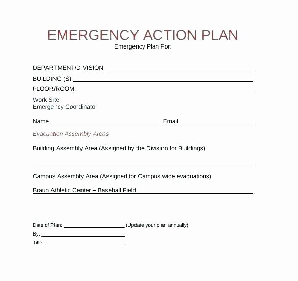 Emergency Evacuation Plan Template Unique Fice Emergency Action Plan Template Sales Sample for