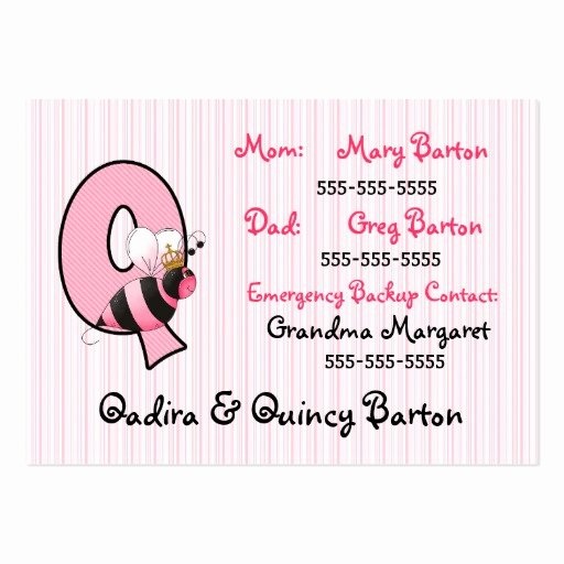 Emergency Information Card Template Beautiful Child S Emergency Information Cards Letter Q Business Card