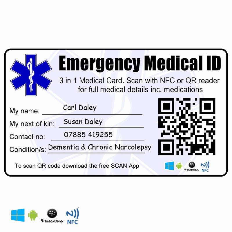 Emergency Information Card Template Beautiful Emergency Medical Identity Wallet Card Id Nfc Rfid