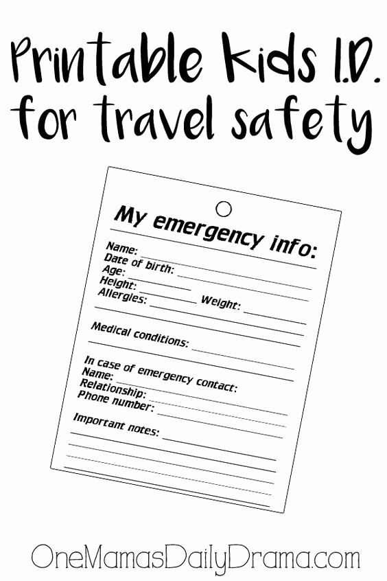 Emergency Information Card Template Fresh Pinterest • the World's Catalog Of Ideas