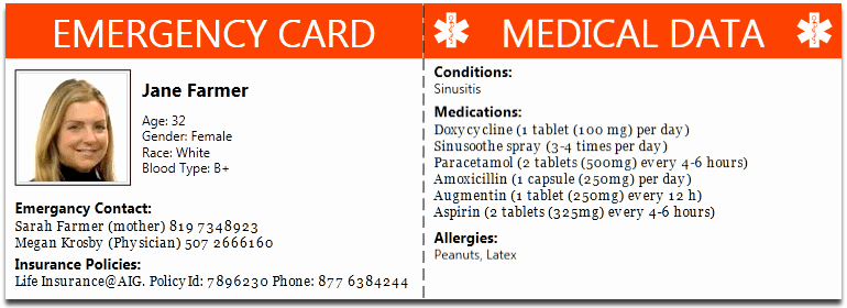 Emergency Information Card Template Lovely 10 Best S Of Diabetic Medical Id Card Free Printable