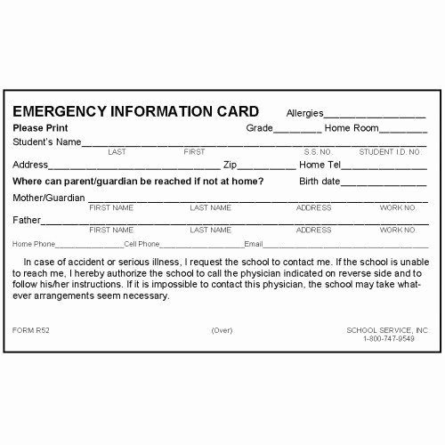 Emergency Information Card Template Lovely R52 New Rolodex Emergency Card W No Medication Rolodex