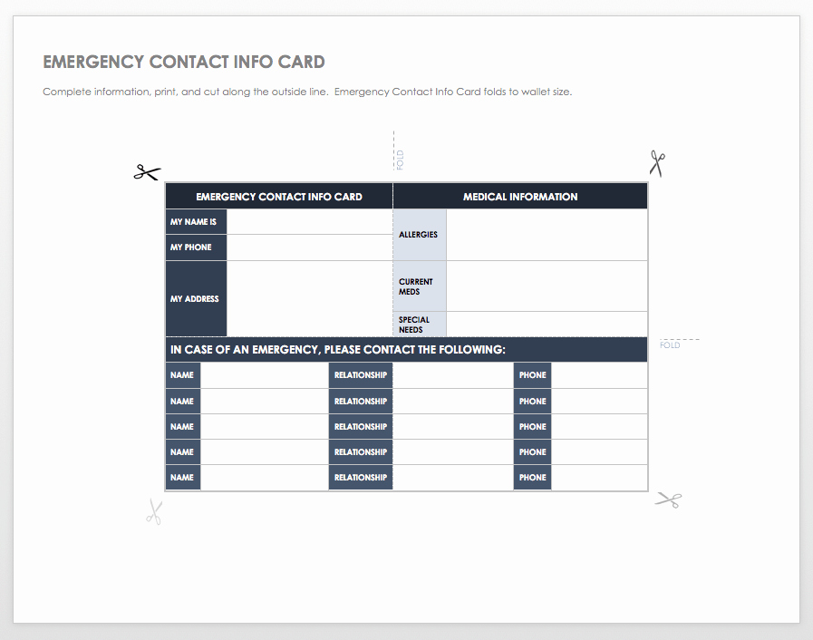 Emergency Information Card Template New Free Contact List Templates