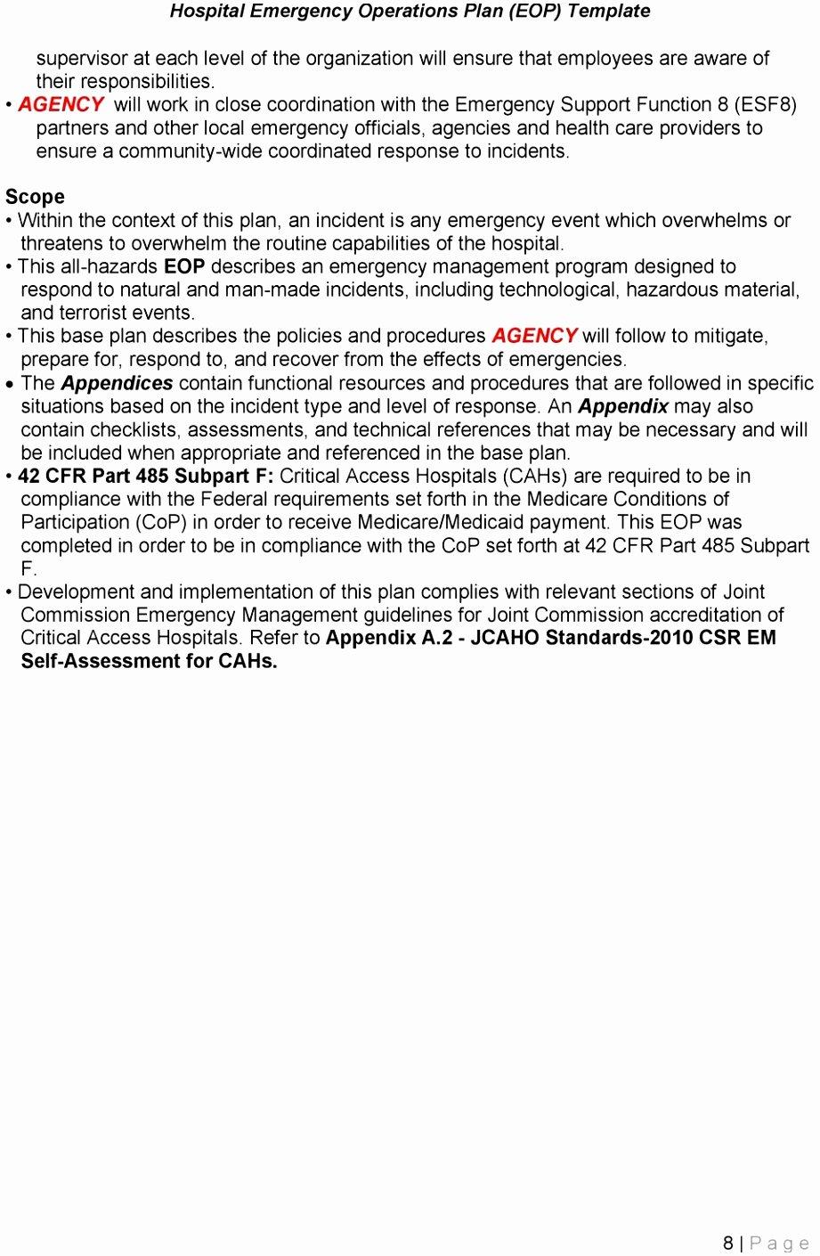Emergency Operations Plan Template Elegant 5 Hospital Emergency Operations Plan Template Yriti