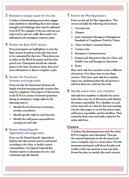 Emergency Operations Plan Template Elegant California Primary Care association Munity Clinic and