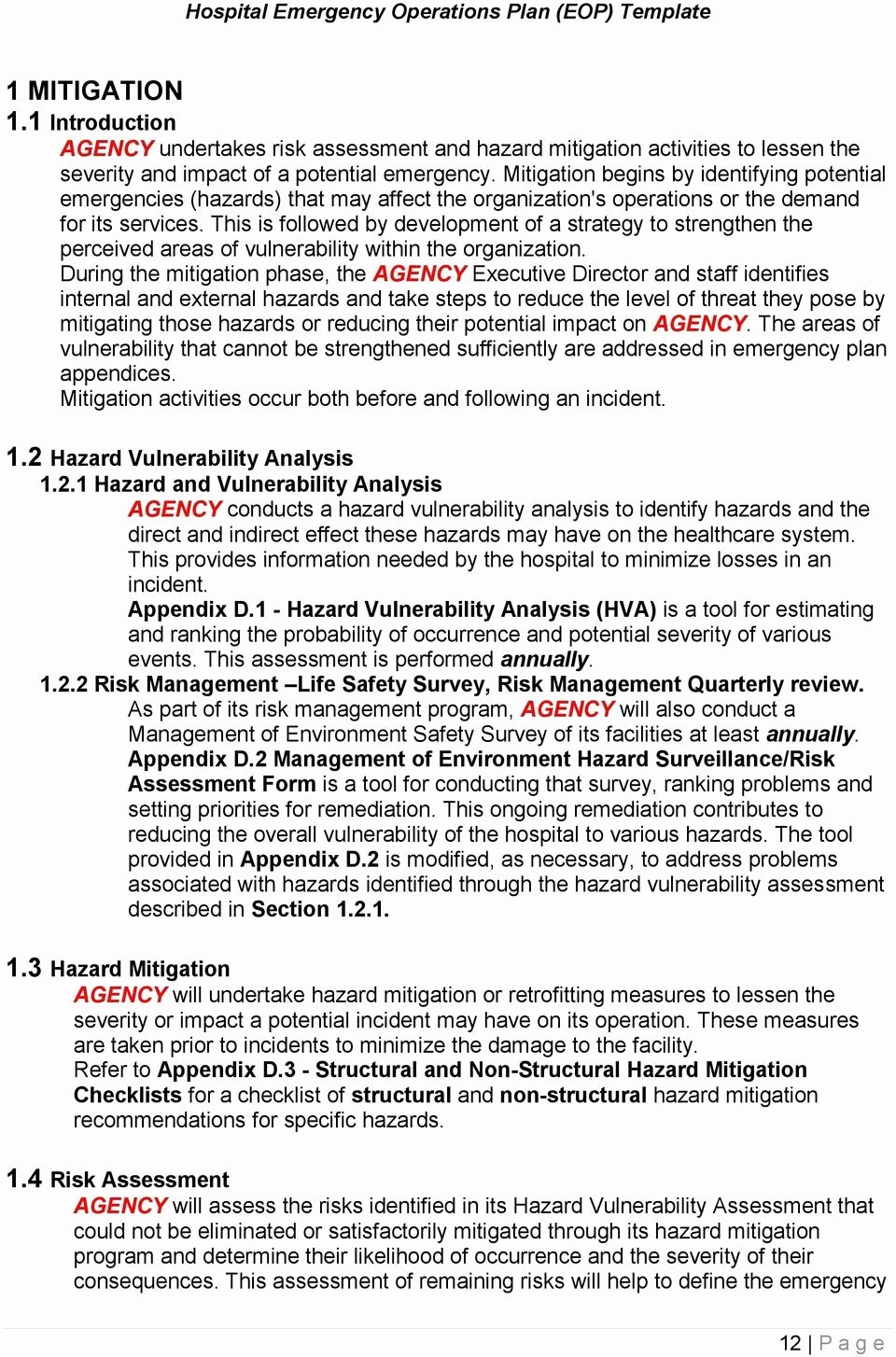 Emergency Operations Plan Template Lovely Hospital Emergency Operations Plan Eop Template Pdf