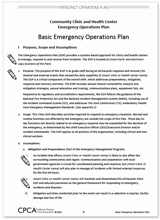 Emergency Operations Plan Template Unique California Primary Care association Munity Clinic and
