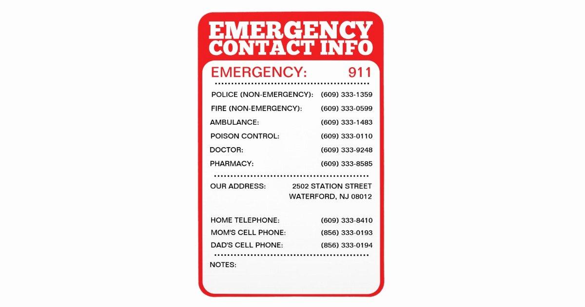 Emergency Phone Number Template Elegant Emergency Contact Information List Magnet
