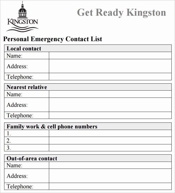 Emergency Phone Number Template Fresh Contact List Template 4 Free Word Pdf Documents