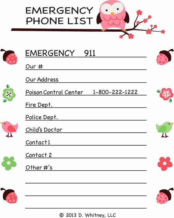 Emergency Phone Number Template Inspirational Emergency Phone List Template for Kids Google Search