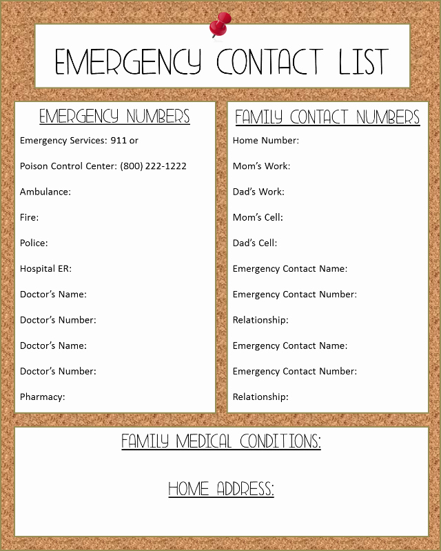 Emergency Phone Number Template New 6 Best Of Free Printable Emergency Contact List