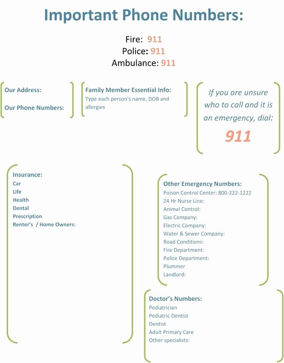 Emergency Phone Number Template New Important Phone Numbers Template 1