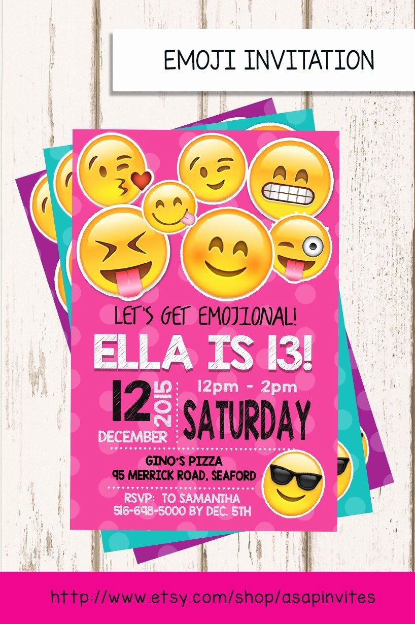 Emoji Birthday Invitation Template Awesome Emoji Birthday Invitation Emojis Emoji Invite