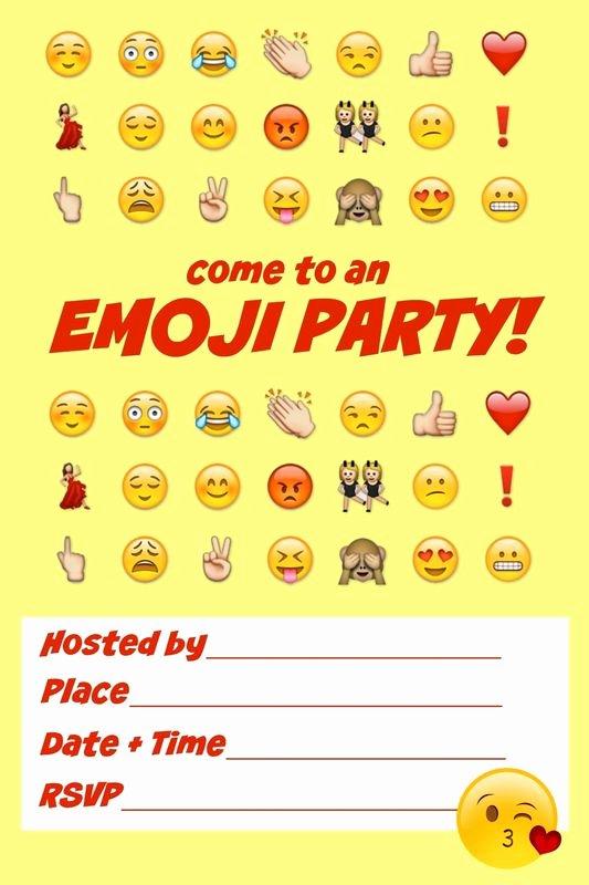 Emoji Birthday Invitation Template Awesome Emoji Birthday Invitations Blank