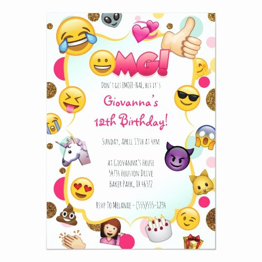 Emoji Birthday Invitation Template Beautiful Emoji Birthday Invitation Emoji themed Invites
