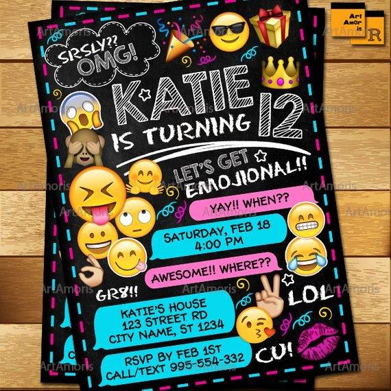 Emoji Birthday Invitation Template Elegant Emoji Invitation Emoji Birthday Invitations Teen Birthday