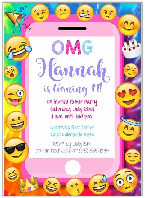 Emoji Birthday Invitation Template Elegant Emoji Party Birthday Invitations Kids Birthday