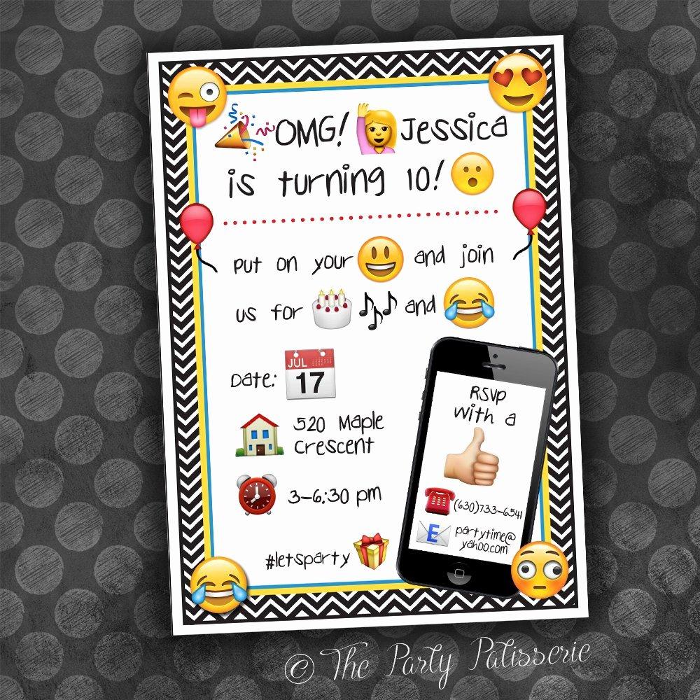 Emoji Birthday Invitation Template Fresh Emoji Birthday Invitation Digital File