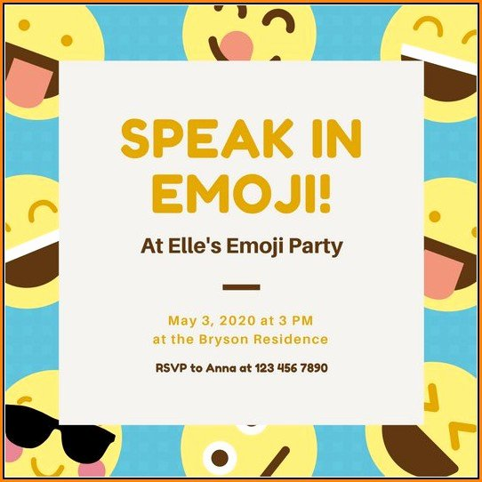 Emoji Birthday Invitation Template Fresh Emoji Birthday Invitation Template Template 1 Resume