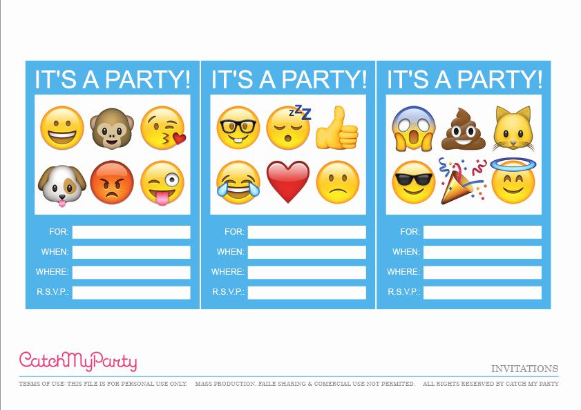 Emoji Birthday Invitation Template Lovely Free Emoji Party Printables