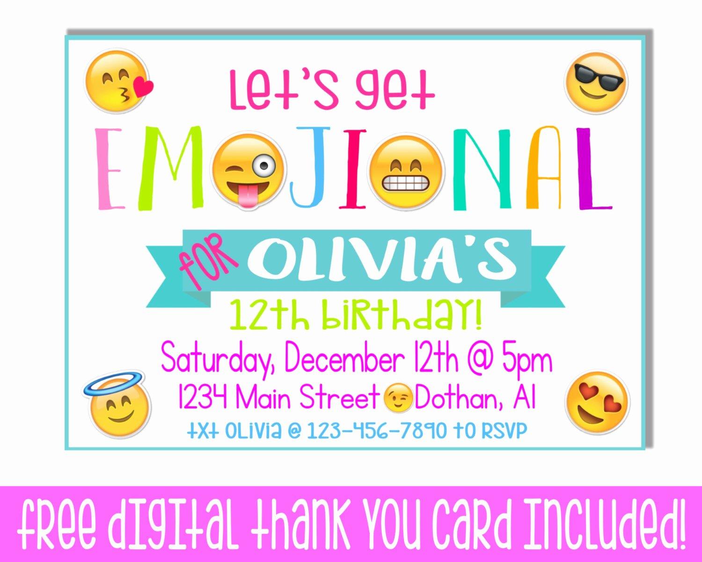 Emoji Birthday Invitation Template Lovely Tween Party Invitations