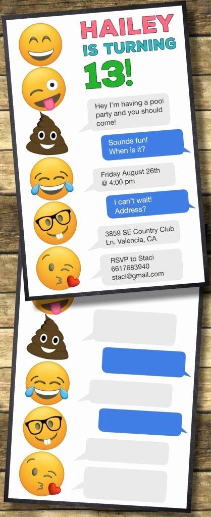Emoji Birthday Invitation Template Luxury Emoji Birthday Invitations Free Printable Template