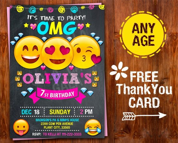 Emoji Birthday Invitation Template Luxury Emoji Invitation Emoji Party Emoji Birthday Invitation Girl