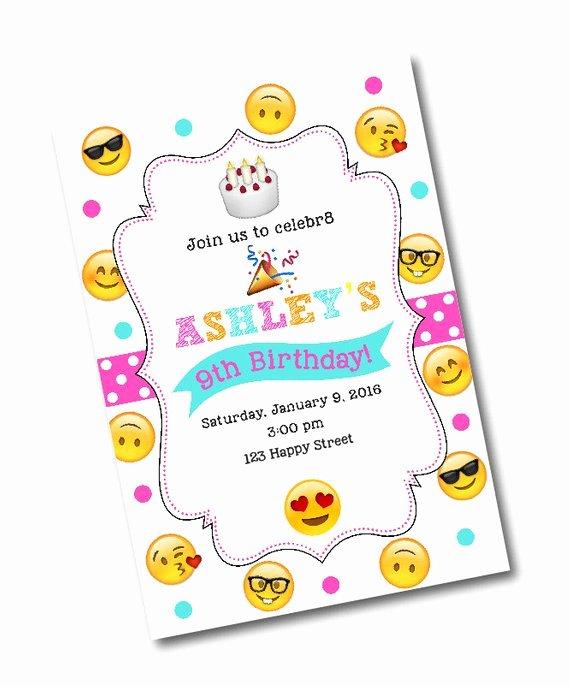 Emoji Birthday Invitation Template New Emoji Birthday Party Invitation Emoji Birthday Party Emoji