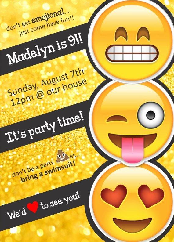 Emoji Birthday Invitation Template New Emoji themed Birthday Party Invitation