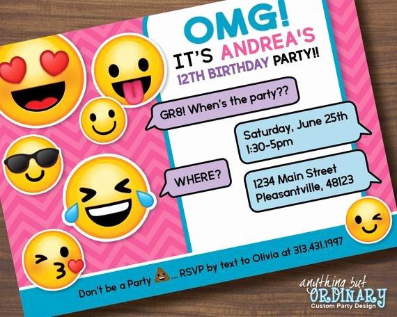 Emoji Birthday Invitation Template New Printable Emoji Birthday Party Invite Girl S Emoji