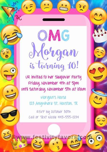 Emoji Invitation Template Free Awesome Emoji Party Birthday Invitations Kids Birthday