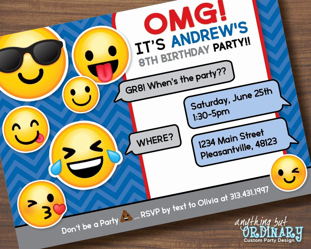 Emoji Invitation Template Free Best Of Boys Emoji Invitation Printable Emoji Birthday Party