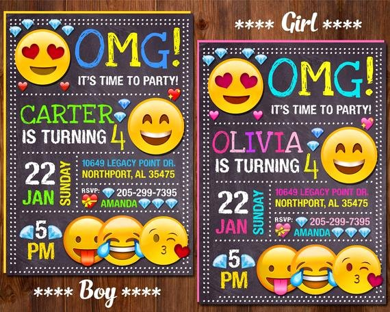 Emoji Invitation Template Free Elegant Emoji Invitation Emoji Birthday Invitation Emoji Party Girl