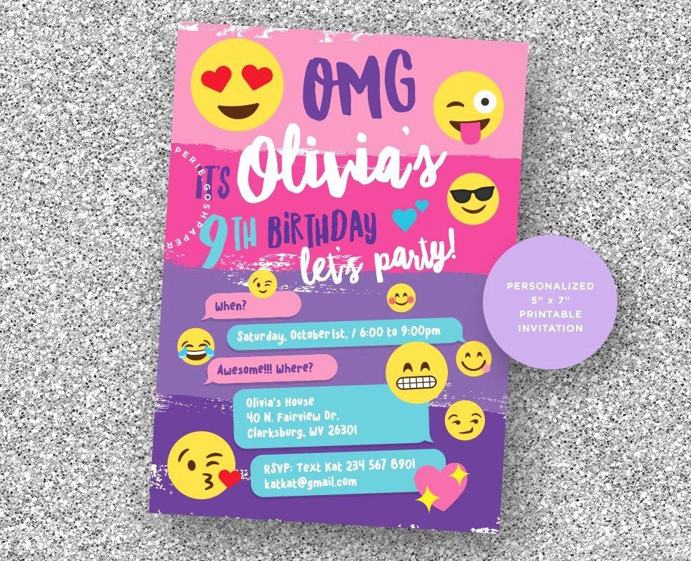 Emoji Invitation Template Free Elegant Emoji Invitation Emoji Party Emoji Birthday Party Girls