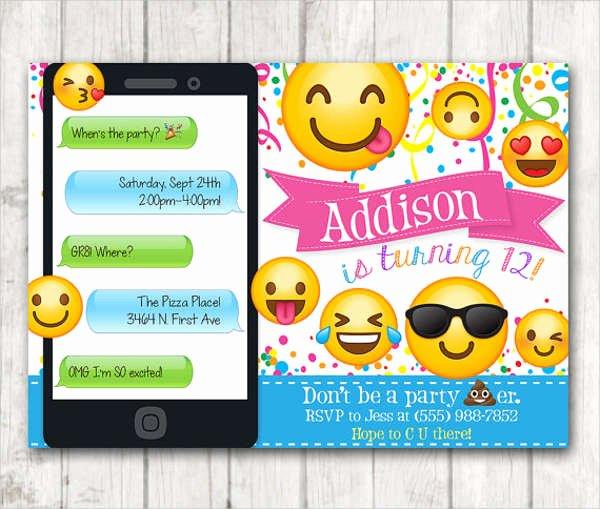 Emoji Invitation Template Free Inspirational Birthday Invitation Templates In Pdf