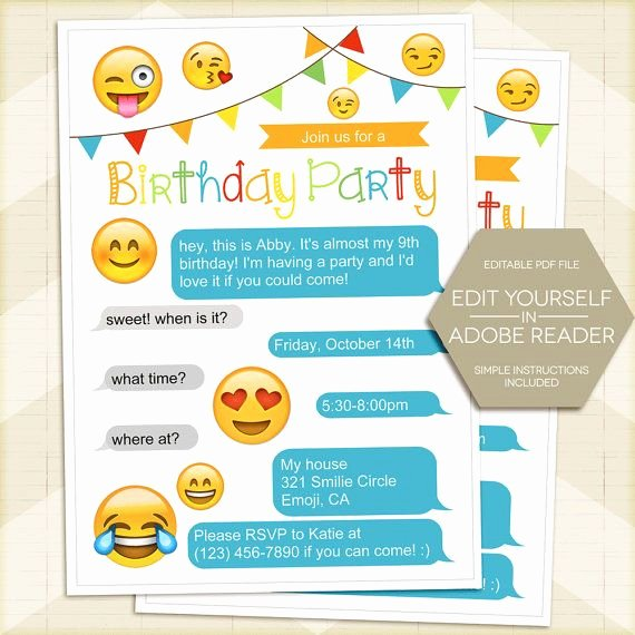 Emoji Invitation Template Free Luxury Emoji Invitation Instant Download Emoji Party Invitation