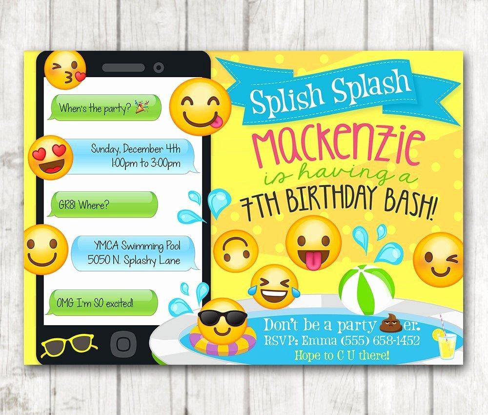 Emoji Invitation Template Free Luxury Printable Emoji Pool Party Party Invitation – Happy Barn