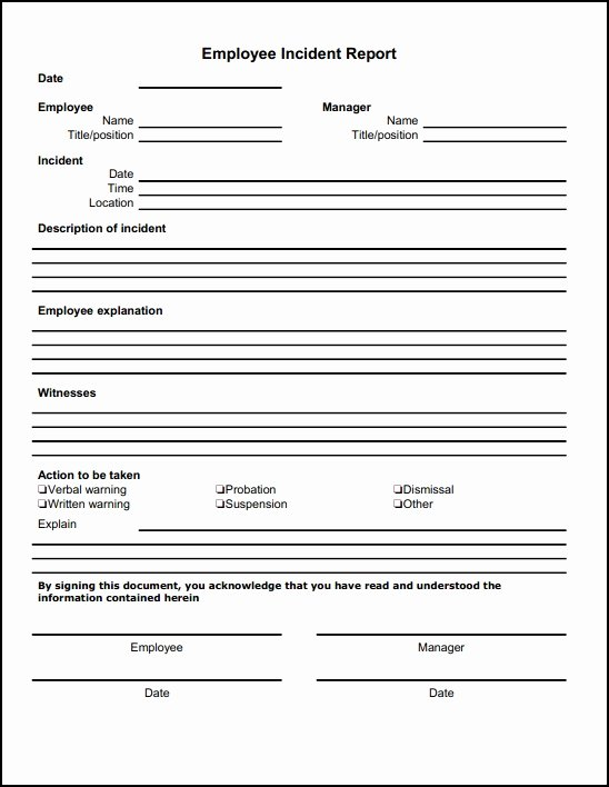 Employee Accident Report Template Inspirational 13 Incident Report Templates Excel Pdf formats