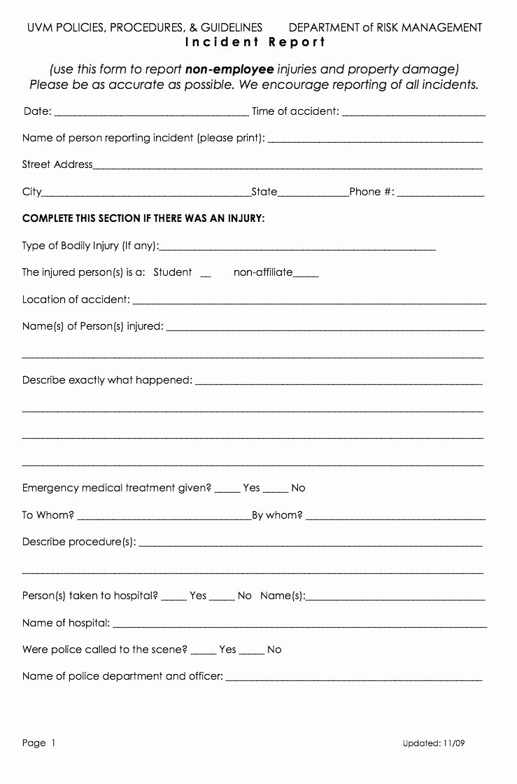 Employee Accident Report Template Inspirational form Injury form Template