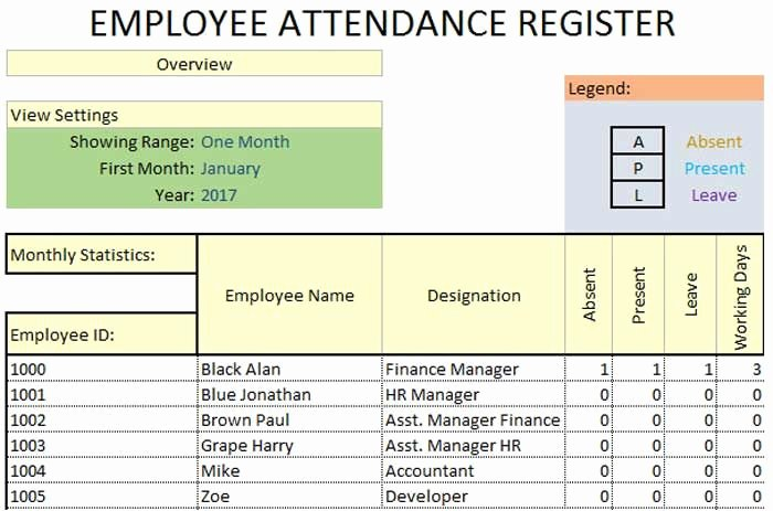 Employee attendance Record Template Awesome Daily Employee attendance Sheet In Excel Template
